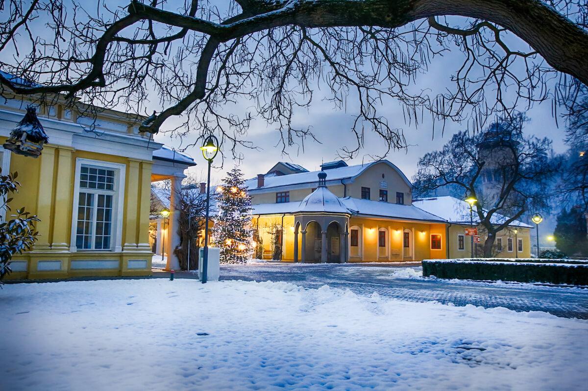 Napoleon Spa in het Slowaakse kuuroord Piestany in de winter