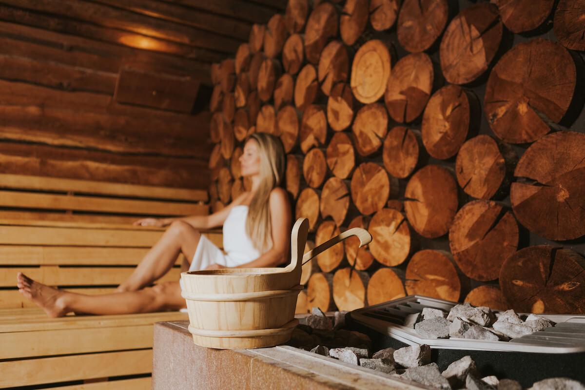 Finse sauna in het Sloveense spa resort Terme Smarjeske Toplice.