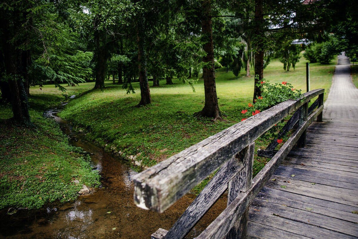 Kuurpark met thermale bronnen in het Sloveense spa resort Terme Smarjeske Toplice.