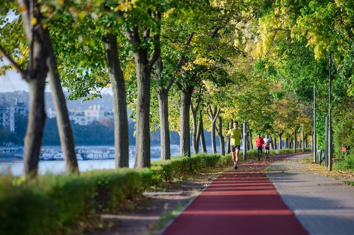 Joggingspaden op Margarethe eiland (Margitsziget) in Boedapest