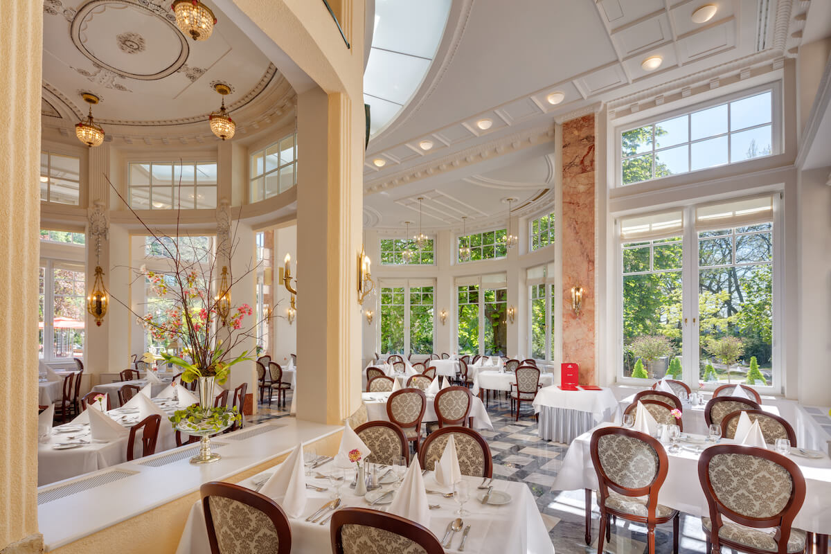 Restaurant in het 5* Thermia Palace Health Spa Resort in het Slowaakse kuuroord PIestany