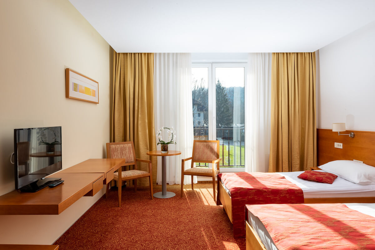 Kamer in het Sloveense spa resort Terme Smarjeske Toplice.